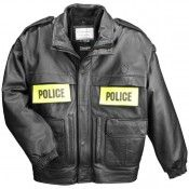 Taylors Leatherwear Pursuit Leather Police Jacket w/ Zip-out Liner, Black