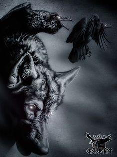 Viking Symbols, Viking Art, Viking Warrior, Viking Raven, Norse Tattoo, Viking Tattoos, Norse Pagan, Norse Mythology, Raven And Wolf