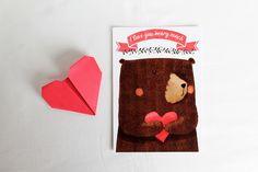 """""""I love you beary much"""" biglietto di san Valentino con orso : Biglietti di ladouceurdumiel"""