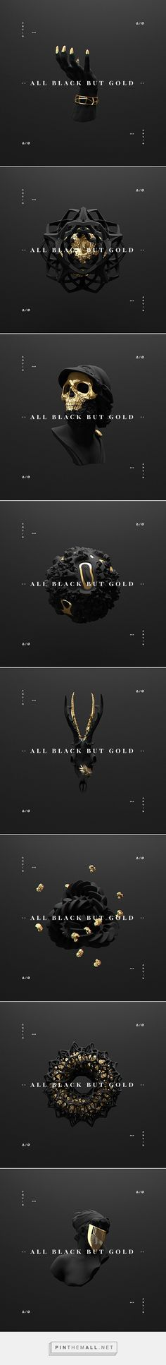 All black but gold on Behance - created via http://pinthemall.net