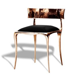 Klismos Chair. Polished Bronze. Paul Mathieu @Ralph Pucci International