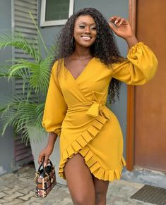 This is how you pose when your outfit is 💯 Ladies are we living for in this mustard mini wrap dress? Classy Dress, Classy Outfits, Chic Outfits, Girl Outfits, Fashion Outfits, Fashion Tips, Fashion Websites, Hijab Fashion, Fashion Ideas