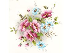 Gladis Pink and Blue Flowers Item # 7078 Pink And Blue Flowers, Pink Rose Flower, Iris Flowers, Little Flowers, Embroidery Designs, Floral Embroidery, Botanical Prints, Floral Prints, Watercolor Sketchbook
