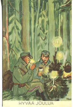 Finnish Christmas postcard illustration by Tove Jansson featuring Finnish soldiers in a wintery pine forest. Date of issue unknown