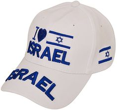 4d8db9c0d44 Baseball Cap with  I Love Israel  a Heart and Israeli Flag - White