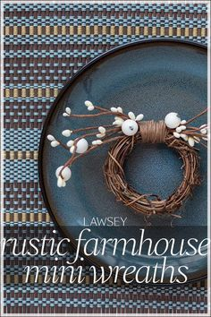 Add pattern and interest to your tabletop with with eye-catching rustic country berry pip beads • Dress this up or down for casual and formal tablescapes • Bring rustic style to any table with easy-to-mix cream-color faux berries on a natural grapevine base • Tie on a name tag to use as a gift topper and place card holders • Group together as mini-wreaths to brighten small spaces