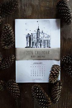 Elegante calendario 2016 para imprimir en sueco