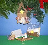 The Wooden Nativity Christmas ornament craft kit is sealed in plastic bag with assembly instructions. Depending on how steep you make the roof, the completed ornament size is about 4 to 5 inches long (not including hanger rope). Jesus, Mary and Joseph in the manger scene. See photo and close-up Elmer's Glue can be used, but for best assembly, we recommend hot glue gun or Glue Dots. Check our other listings for Glue Dots. This is a fun Christmas Ornament craft for kids and adults.