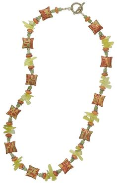"""Single-Strand Necklace with Kato Polyclay™ Beads and Olive New """"Jade"""" Hawaiian Chip Beads"""