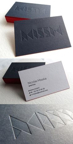 Black And White Edge Painted Letterpress Business Card For A Graphic Designer