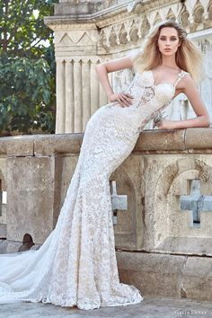 galia lahav fall 2016 bridal sleeveless lace strap sweetheart sheath lace…