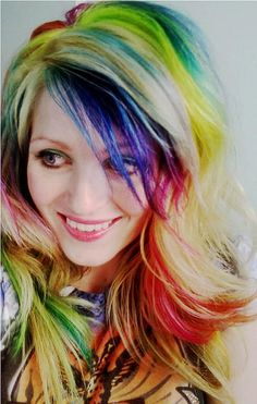 Crazy rainbow hair! Fun!