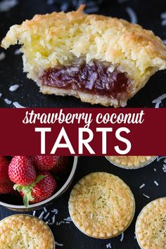 Strawberry Coconut Tarts - Sweet and super simple to make. This old-fashioned recipe has stood the test of time for good reasons. Coconut Recipes, Tart Recipes, Baking Recipes, Sweet Recipes, Dessert Recipes, Baking Pies, Fudge Recipes, Strawberry Jam Tarts, Strawberry Recipes