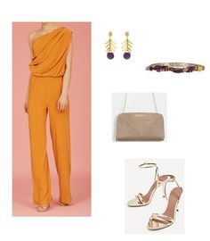 Time for Fashion » Style Consultancy. Orange asymmetric jumpsuit+golden ankle strap heeled sandals+beige raffia clutch+embellished belt+gold and purple earrings. Summer Evening Wedding Guest Outfit 2017