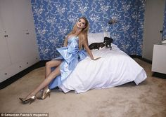 Puppy love! Upton recruited her dog Harley to join her in the fun of the photo shoot