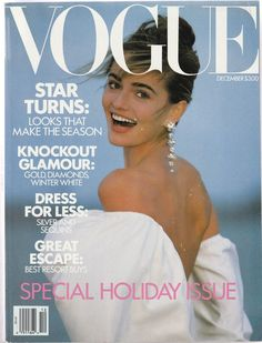 Paulina Porizkova, photo Patrick Demarchelier, Vogue US, December 1989*