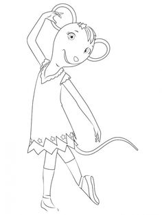 angelina ballerina with her pajamas coloring page free - Angelina Ballerina Coloring Pages