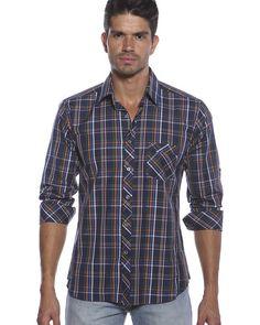 Dark blue plaid shirt