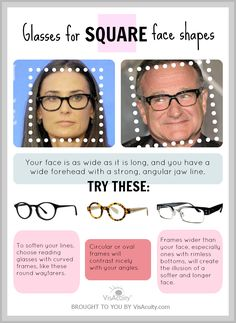 How to find the right pair of reading glasses if you have a SQUARE face shape! VisAcuity.com #VisAcuity Square Face Glasses, Glasses For Your Face Shape, Square Face Hairstyles, Four Eyes, Face Tips, Square Faces, Glasses Frames, Reading Glasses, Face Shapes
