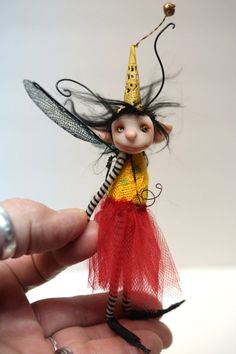 ooak poseable little BUG fairy 76 pixie elf by DinkyDarlings