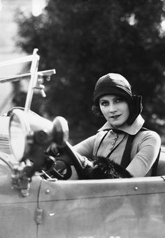 Greta Garbo - 1925 - @Mlle  This picture has it all: iconic beauty, style and ride!