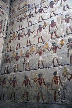 Mastaba Wall - Tomb Reliefs - Cairo, Egypt  --  No further reference provided.