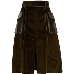 Prada Slit-front leather-trimmed cotton-corduroy skirt ($1,770) ❤ liked on Polyvore featuring skirts, dark green, brown cotton skirt, dark green skirt, retro a line skirt, slit skirt and a line skirt
