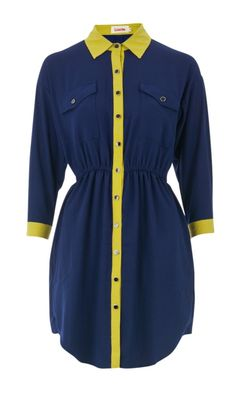 Louche Diana Navy and Yellow Contrast Dress