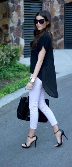 Black blouse white pants / casual