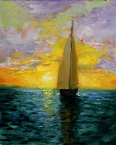 'Sunset Sailing', painting by artist Justin Clements