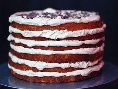 Coconut and Espresso Cream Layer Cake. #recipe