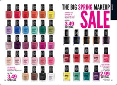 Avon's makeup is all on sale, including these nail enamel choices.  3.49