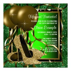Green and Gold High Heels Womans Birthday Party Invitations