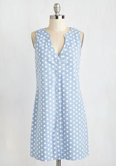 Art School Quintessential Dress. Face your class critique with confidence sporting this dotted shift dress! #blue #modcloth