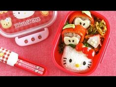 How to Make Hello Kitty Bento Lunch Box (Kyaraben Recipe) キティちゃん弁当 (キャラ弁)