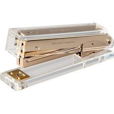 kate spade new york brings elegance to your everyday tasks with this chic acrylic and gold desk stapler. Made from durable clear acrylic and gold hardware, the stapler reminds you to keep it together