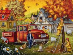Christine Genest ~ Don Leo Club-Solidarity Thanksgiving Pictures, Fall Pictures, Sheep Art, Arte Country, Ecole Art, Art Story, Country Scenes, Autumn Art, Naive Art