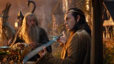 high resolution image of Gandalf and Elrond; sleeve and shoulder details clearly visible