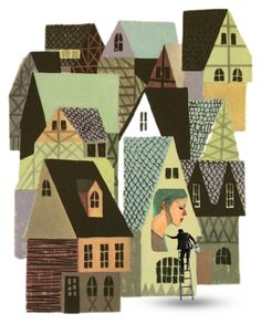 """Illustration from """"Dick Whittington and his Cat"""", Wonder Books Illustrated by Dellwyn Cunningham. Love the cubist feel of these buildings. Gravure Illustration, Children's Book Illustration, Old Illustrations, Wonder Book, House Quilts, Storyboard, Kitsch, Home Art, Illustrators"""