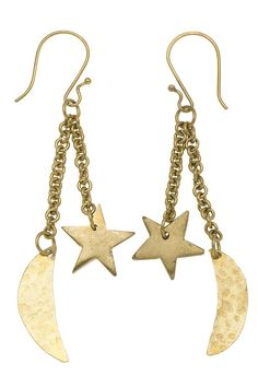 Hand made brass charm earrings. Crafted entirely by hand, these brass drop earrings feature star and moon charms. Hand made by artisans at Bombolulu Workshops in Kenya. Length 8cm.