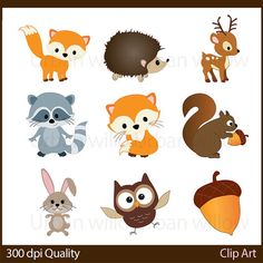 ******INSTANT DOWNLOAD********  Png & Vector clip art for commercial* and personal use. Please read store policies before purchasing.  *********************************************************************** WOODLAND ANIMALS - 20 piece clip art set in high resolution, Png & Illustrator (Vector) files.  Clip art image sizes are approx. 6 wide/ or high and can easily be reduced to gift tag size to suit your project. Each clip art image is saved as a separate png image that can be us...