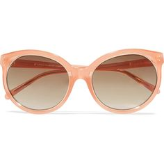 Linda Farrow Cat-eye acetate sunglasses ($215) ❤ liked on Polyvore featuring accessories, eyewear, sunglasses, peach, cat eye glasses, cat eye sunglasses, cat eye sunnies, brown lens sunglasses and uv protection sunglasses