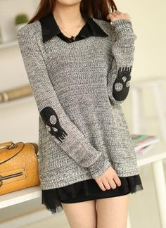 2014 Winter Skull Applique Twinset Sweater For Women Chiffon Two-Piece Dress Punk Pullover Women's Skirt Free Shipping SV007577 - http://www.freshinstyle.com/products/2014-winter-skull-applique-twinset-sweater-for-women-chiffon-two-piece-dress-punk-pullover-womens-skirt-free-shipping-sv007577/