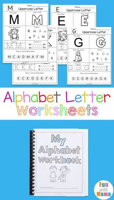 Free printable alphabet letter worksheets, coloring pages for preschool kids, do a dot art, handwriting uppercase and lowercase letters via @funwithmama