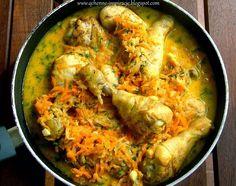 Kurczak duszony w jarzynach z sosem koperkowym z indyjską nutą. W sam raz na niedzielny obiad.