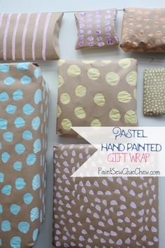 Beautiful PASTEL HAND PAINTED GIFT WRAP. Make your gifts extra special with this easy craft DIY. Customisable to any colour scheme, and even better its super cheap too. This EASY CRAFT takes minutes and is only a few pence. Pin for later, or head oto the Blog for details of this and other wrapping ideas  #DIYgiftwrap #creativegiftwrap #girftwrapideas #creativegiftwrap #wrappingpaperideas #giftwrappingideas #pastelcraft #kidscrafts #papercrafts #handprinted #fiveminutecrafts #pastelparty Creative Gift Wrapping, Wrapping Ideas, Wrapping Gifts, Easy Diy Crafts, Crafts For Kids, Homemade Gifts, Diy Gifts, Gift Card Presentation, Pastel Party