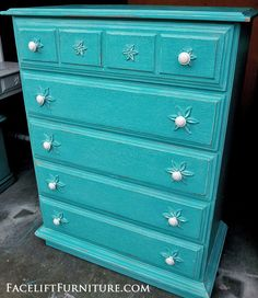 Sunfade Turquoise Chest Of Drawers