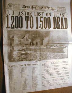 Newspapers about Titanic - rms-titanic Photo Real Titanic, Titanic Photos, Titanic Sinking, Titanic Ship, Titanic History, Titanic Movie, Belfast, Southampton, Titanic Artifacts