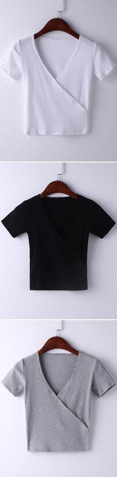 Grey Short Sleeve Cross V Neck T-shirt  - romwe.com