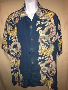 Avanti Hawaiian Shirt Men's Size XL Blue Tiger Dragon Print 100% Silk
